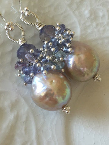Edison Pearl Earrings Aquamarine and Iolite
