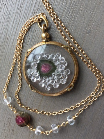 Antique Shake Locket Watermelon Tourmaline