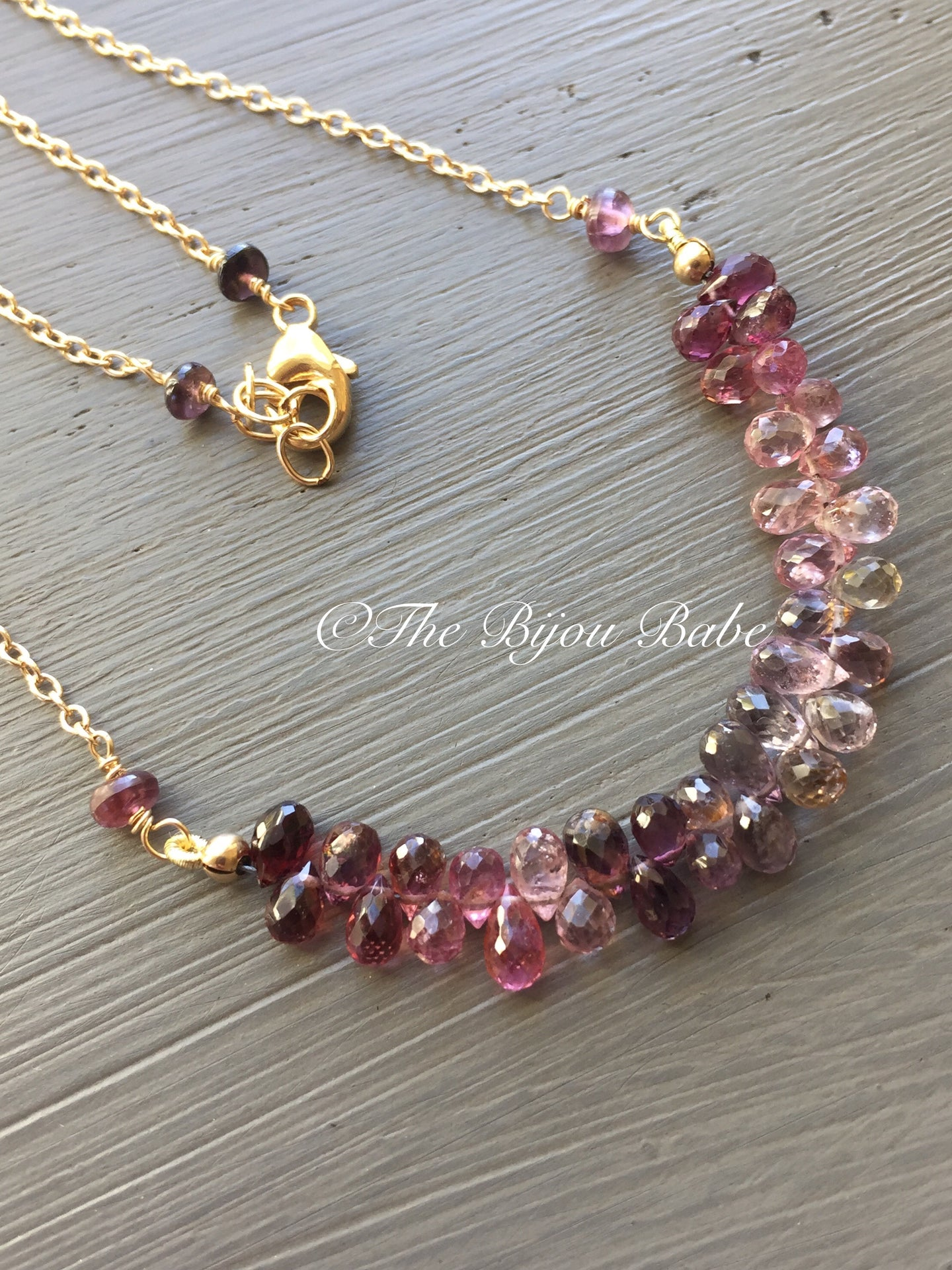 Multi Spinel Briolette Bar Necklace