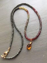 Load image into Gallery viewer, Pyrite and Multi Garnet Necklace Color Block Necklace