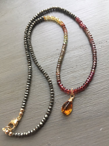 Pyrite and Multi Garnet Necklace Color Block Necklace