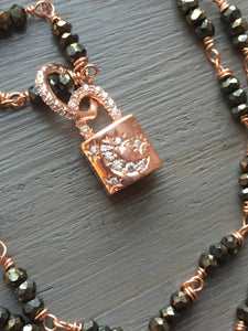 Mystic Spinel Necklace with Padlock Charm