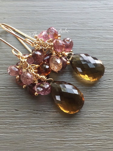 Cognac Quartz Cluster Earrings
