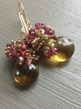 Charger l'image dans la galerie, Beer Quartz Cluster Earrings