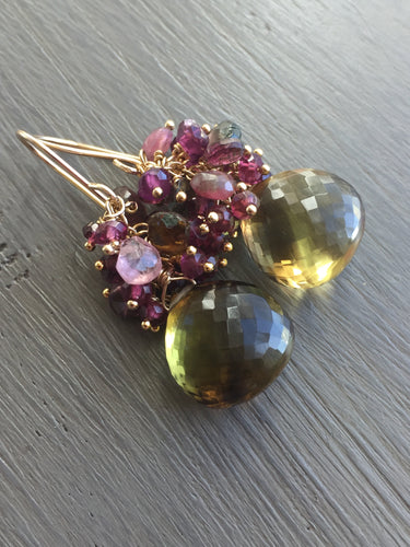 Bicolor Quartz Cluster Earrings
