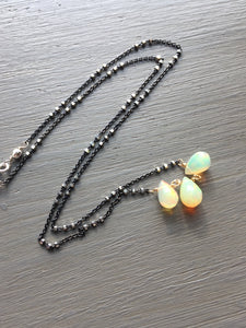 Ethiopian Opal Teardrop Necklace