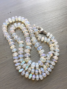 Ethiopian Opal Hand Knotted Silk Necklace