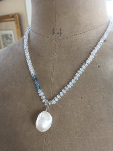 Rainbow Moonstone and Moss Aquamarine Baroque Pearl Necklace