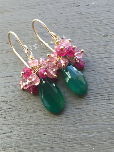 Green Chalcedony Cluster Earrings