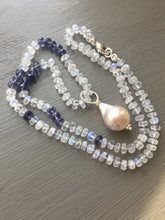 Charger l'image dans la galerie, Rainbow Moonstone Iolite and Baroque Pearl Necklace