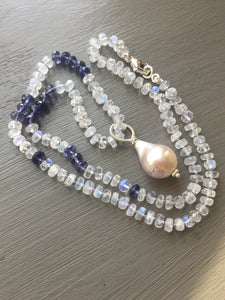 Rainbow Moonstone Iolite and Baroque Pearl Necklace