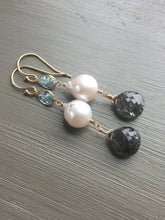 Load image into Gallery viewer, 14kt Gold Pearl and Blue Topaz Earrings