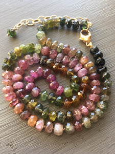 Tourmaline Necklace Hand Knotted Silk