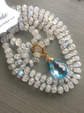 Load image into Gallery viewer, Swiss Blue Topaz Rainbow Moonstone Necklace