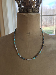 Reserved for M-18k Australian Opal and Sleeping Beauty Turquoise Necklace