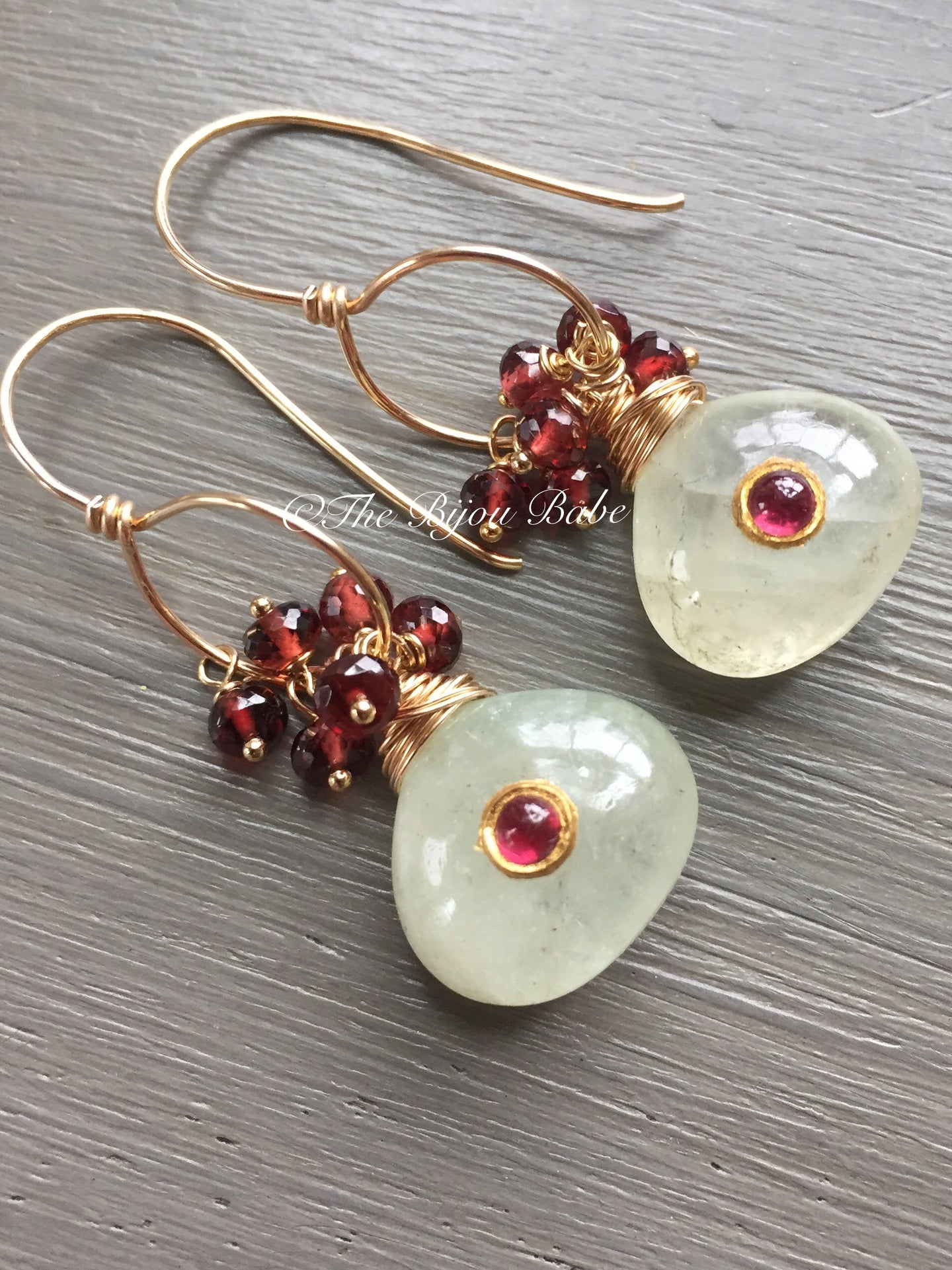 Chrome Diopside and Garnet Earrings