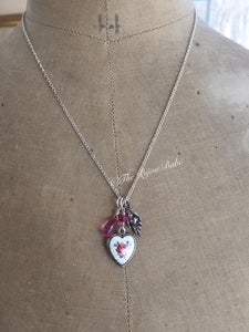 Sterling Silver Guilloche Heart Talisman Necklace