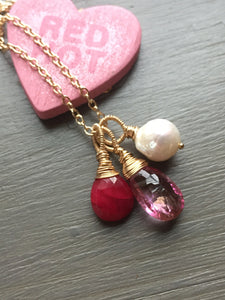 Pink Topaz Charm Necklace