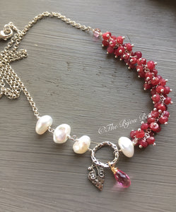 Ruby and Sterling Silver Boho Luxe Necklace