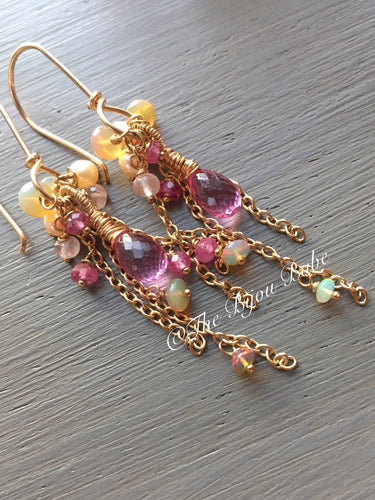 Pink Topaz Tassel Earrings