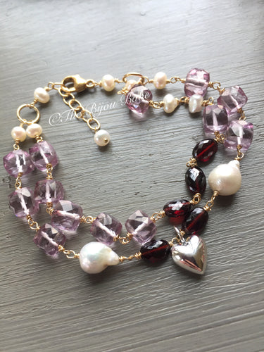 Pink Quartz and Garnet Puffy Heart Bracelet