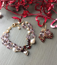 Load image into Gallery viewer, Pink Quartz and Garnet Puffy Heart Bracelet