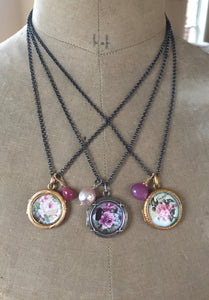 Antique French Locket Language of Flowers 14