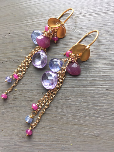 Pink Sapphire and Tanzanite Cluster Earrings