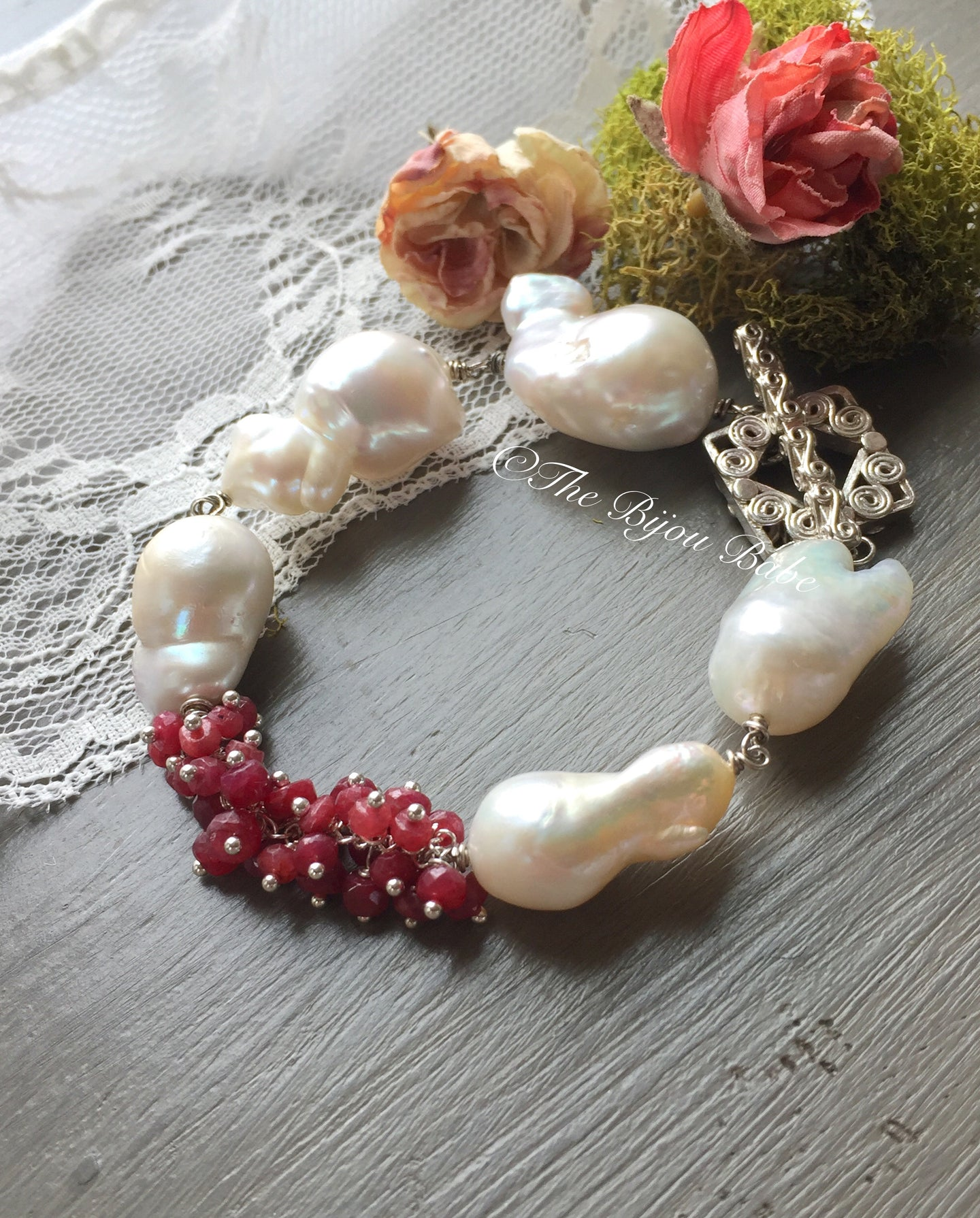 Baroque Pearl and Ruby Bracelet