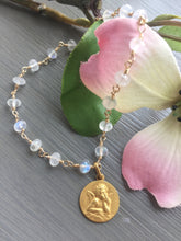 Load image into Gallery viewer, Antique French Cherub Medal Rainbow Moonstone Bracelet