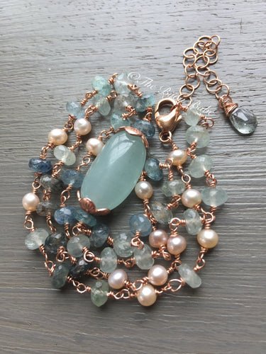 Aquamarine Necklace in Rose Gold Filled
