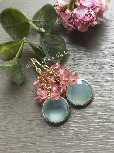 Aqua Chalcedony and Pink Topaz Cluster Earrings-MADE TO ORDER