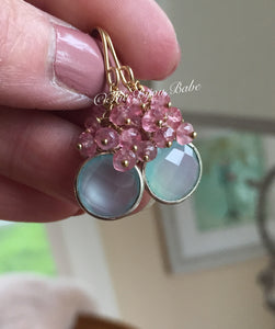 Aqua Chalcedony and Pink Topaz Cluster Earrings