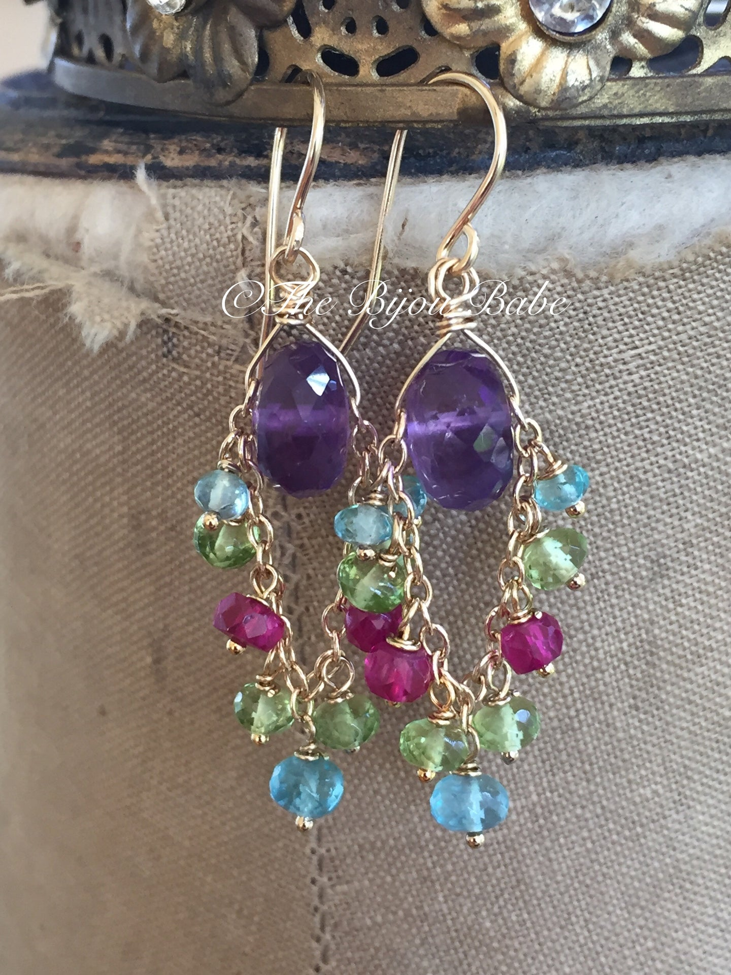 Amethyst and Multi Gemstone Chandelier Earrings