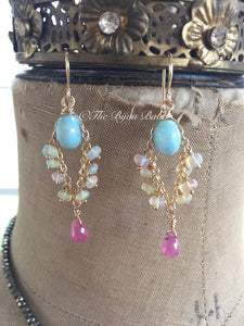 Larimar and Ethiopian Opal Chandelier Earrings