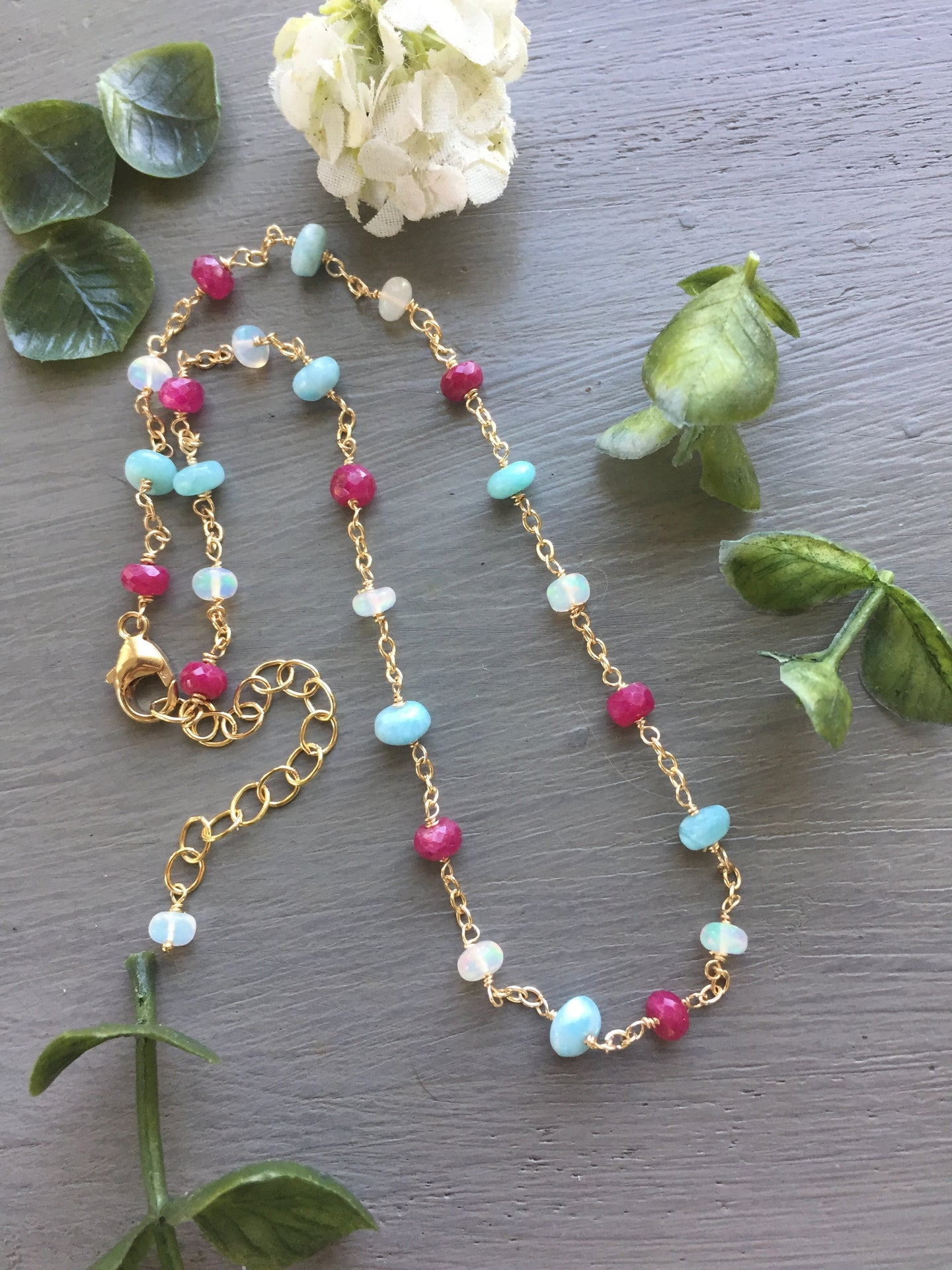 Larimar Ethiopian Opal and Ruby Layering Necklace