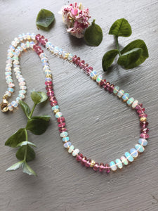 Solid 14kt Gold Ethiopian Opal and Pink Topaz Necklace