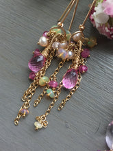 Load image into Gallery viewer, Pink Topaz Tassel Earrings