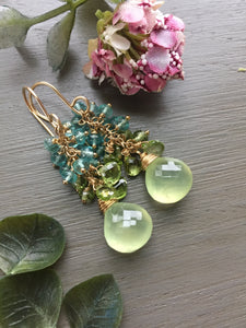 Prehnite and Peridot Gemstone Earrings