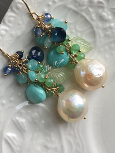 RESERVED: Edison Pearl Earrings with Sleeping Beauty Turquoise