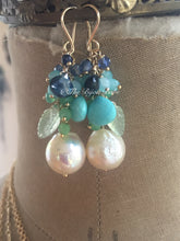 Load image into Gallery viewer, RESERVED: Edison Pearl Earrings with Sleeping Beauty Turquoise