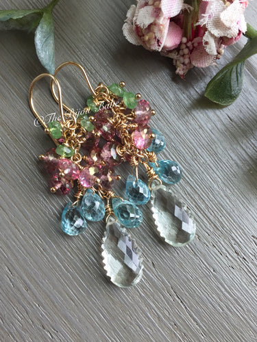 Green Amethyst Cluster Earrings