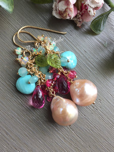 Edison Pearl Earrings with Sleeping Beauty Turquoise and Pink Topaz