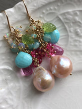Load image into Gallery viewer, Edison Pearl Earrings with Sleeping Beauty Turquoise and Pink Topaz