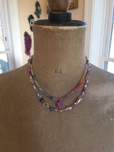 Load image into Gallery viewer, Pink Sapphire Pave Disc Necklace Boho Luxe Jewelry Layering Necklace