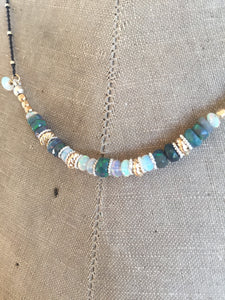 Opal Bar Necklace Boho Luxe Necklace Layering Necklace