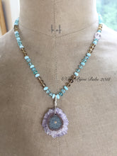 Load image into Gallery viewer, Stalactite Slice Necklace Hand Knotted Silk Necklace