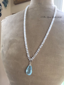 Blue Topaz Pendant hand knotted silk necklace