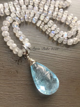 Load image into Gallery viewer, Blue Topaz Pendant hand knotted silk necklace