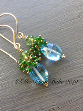 Load image into Gallery viewer, Blue Topaz Cluster Earrings